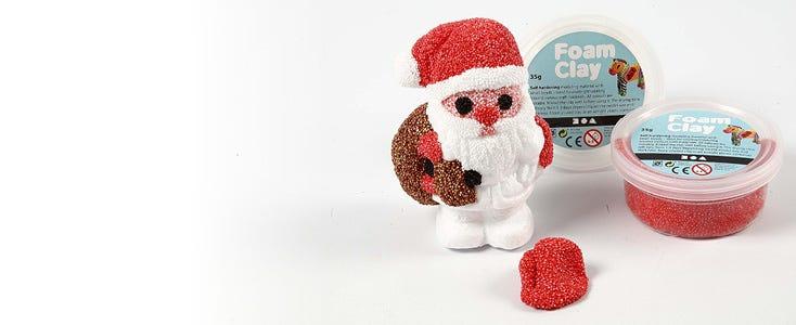 Joulukoristeet Foam Clay ja Silk Clay