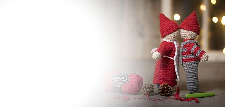 Virkattuja, ommeltuja ja huovutettuja joulukoristeita