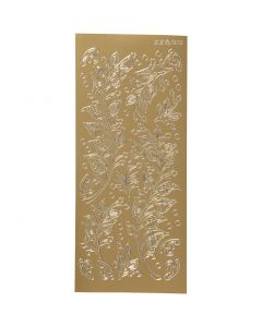 Ääriviivatarra, lehdet, 10x23 cm, kulta, 1 ark