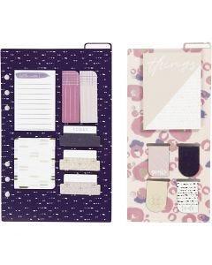 Post- it tarralajitelma ja kirjanmerkit, koko 10,3x22 + 13,8x22 cm, kulta, violetti, rosa, 2 ark/ 1 pkk