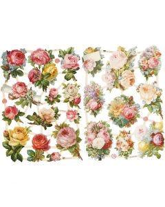 Kiiltokuvat, ruusut, 16,5x23,5 cm, 2 ark/ 1 pkk