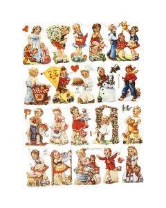 Kiiltokuvat, Nostalgiset lapset, 16,5x23,5 cm, 2 ark/ 1 pkk