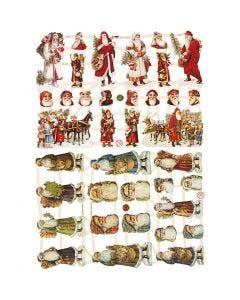 Kiiltokuvat, Joulupukit, 16,5x23,5 cm, 2 ark/ 1 pkk