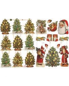 Kiiltokuvat, Joulupukki ja kuuset, 16,5x23,5 cm, 2 ark/ 1 pkk