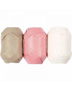 Lahjanauha, Lev: 10 mm, beige, vaaleanpunainen, valkoinen, 3x10 m/ 1 pkk