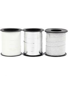 Lahjanauha, Lev: 10 mm, hopea, kimallehopea, valkoinen, 3x15 m/ 1 pkk