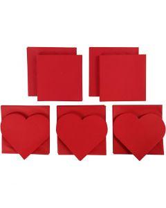 Korttipohjat kirjekuorineen, kortin koko 12,5x12,5 cm, kirjekuoren koko 13,5x13,5 cm, Lajitelman sisältö voi vaihdella , punainen, 50 set/ 1 pkk