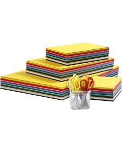 Värilliset kartongit ja lastensakset, A3,A4,A5,A6, 180 g, värilajitelma, 1 set