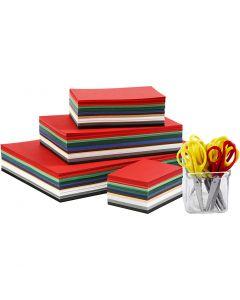 Joulukartonki, A3,A4,A5,A6, 180 g, värilajitelma, 1 set