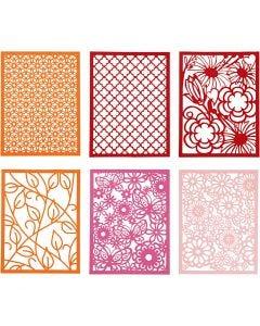 Pitsikartongit, A6, 104x146 mm, 200 g, oranssi, pinkki, rosa, punainen, 24 kpl/ 1 pkk