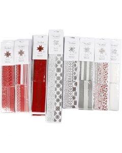 Paperitähtisuikaleet, Pit. 45+86+100 cm, halk. 6,5+11,5+18 cm, Lev: 15+25+40 mm, musta, punainen, hopea, valkoinen, 18 pkk/ 1 pkk