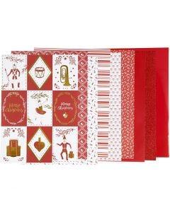 Kuviopaperilehtiö, koko 21x30 cm, 120+128 g, punainen, valkoinen, 24 ark/ 1 pkk