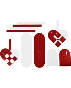 Punotut sydämet, koko 14,5x10 cm, 120+128 g, punainen, valkoinen, 8 set/ 1 pkk