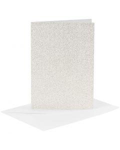Korttipohja & kirjekuori, kortin koko 10,5x15 cm, kirjekuoren koko 11,5x16,5 cm, kimalle, 120+250 g, valkoinen, 4 set/ 1 pkk