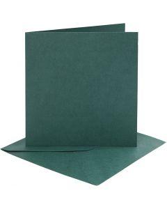 Korttipohjat ja kirjekuoret, kortin koko 15,2x15,2 cm, kirjekuoren koko 16x16 cm, 230 g, tummanvihreä, 4 set/ 1 pkk
