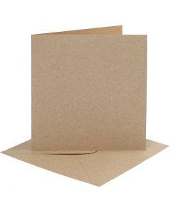 Korttipohjat ja kirjekuoret, kortin koko 15,2x15,2 cm, kirjekuoren koko 16x16 cm, 230 g, luonnonrusk., 4 set/ 1 pkk