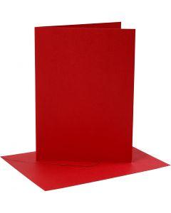 Korttipohja-/kirjekuoripakkaus, kortin koko 12,7x17,8 cm, kirjekuoren koko 13,3x18,5 cm, 230 g, punainen, 4 set/ 1 pkk