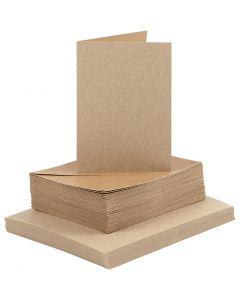 Korttipohjat ja kirjekuoret, kortin koko 10,5x15 cm, kirjekuoren koko 11,5x16,5 cm, 120+240 g, luonnonrusk., 50 set/ 1 pkk