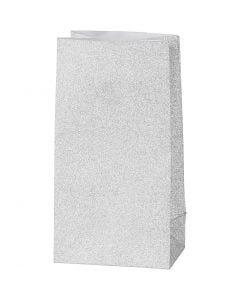 Paperipussi, Kork. 17 cm, koko 6x9 cm, 120 g, hopea, 8 kpl/ 1 pkk