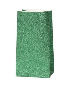 Paperipussi, Kork. 17 cm, koko 6x9 cm, 150 g, vihreä, 8 kpl/ 1 pkk
