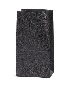 Paperipussi, Kork. 17 cm, koko 6x9 cm, 170 g, musta, 8 kpl/ 1 pkk