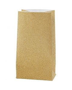 Paperipussi, Kork. 17 cm, koko 6x9 cm, 170 g, kulta, 8 kpl/ 1 pkk