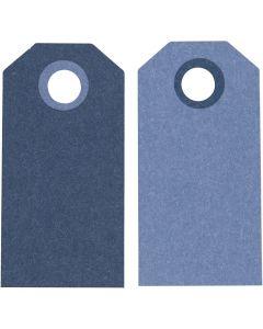 Kartonkietiketti, koko 6x3 cm, 250 g, tummansininen/vaaleansininen, 20 kpl/ 1 pkk