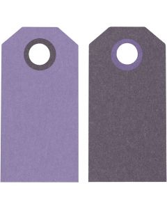 Kartonkietiketti, koko 6x3 cm, 250 g, violetti/tummanvioletti, 20 kpl/ 1 pkk