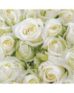 Servietit, Valkoiset ruusut, koko 33x33 cm, 20 kpl/ 1 pkk