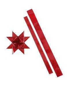Paperisuikaleet, Pit. 86+100 cm, Lev: 25+40 mm, halk. 11,5+18,5 cm, punainen, glitter punainen, 16 suikaleet/ 1 pkk
