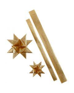 Paperisuikaleet, Pit. 86+100 cm, halk. 11,5+18,5 cm, Lev: 25+40 mm, glitter kulta, 16 suikaleet/ 1 pkk