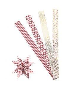 Paperitähti-suikaleet, Pit. 100 cm, halk. 18 cm, Lev: 40 mm, kulta, punainen, valkoinen, 40 suikaleet/ 1 pkk