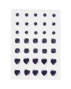 Akryylitimantit, pyöreä, neliö, sydän, koko 6+8+10 mm, sininen, 35 kpl/ 1 pkk