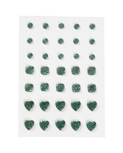 Akryylitimantit, pyöreä, neliö, sydän, koko 6+8+10 mm, vihreä, 35 kpl/ 1 pkk