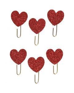 Liittimet, sydän, halk. 30 mm, glitter punainen, 6 kpl/ 1 pkk