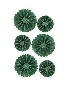 Paperirosetit, halk. 35+50 mm, glitter vihreä, 6 kpl/ 1 pkk