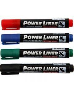 Power Liner, paksuus 1,5-3 mm, musta, sininen, vihreä, punainen, 4 kpl/ 1 pkk