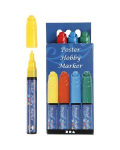 Poster Hobby Marker, paksuus 3 mm, sininen, vihreä, punainen, keltainen, 4 kpl/ 1 pkk