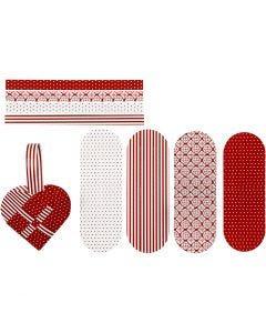 Punotut sydämet, koko 14,5x10 cm, 120 g, punainen, valkoinen, 8 set/ 1 pkk