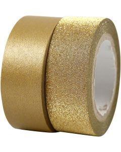 Design-teippi, Lev: 15 mm, kulta, 2 rll/ 1 pkk