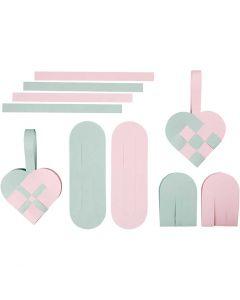 Punotut sydämet, koko 14,5x10 cm, 120 g, 8 set/ 1 pkk