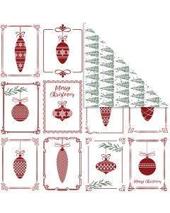 Kuviopaperi, Joulupallot ja joulukuuset, 30,5x30,5 cm, 180 g, 5 ark/ 1 pkk