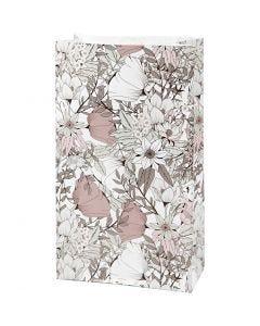 Paperipussi, Kork. 21 cm, koko 6x12 cm, 80 g, beige, ruskea, rosa, valkoinen, 8 kpl/ 1 pkk