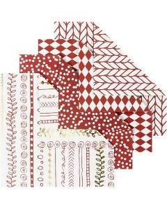 Origamipaperi, koko 10x10 cm, 80 g, punainen, 40 ark/ 1 pkk