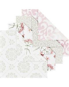 Origamipaperi, koko 10x10 cm, 80 g, vihreä, harmaa, vaaleanpunainen, valkoinen, 40 ark/ 1 pkk