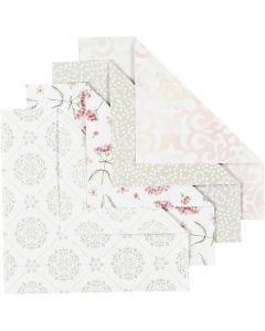 Origamipaperi, koko 15x15 cm, 80 g, vihreä, harmaa, vaaleanpunainen, valkoinen, 40 ark/ 1 pkk