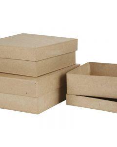 Pahvirasialajitelma, Kork. 5+6+7,5 cm, koko 16+18+20 cm, 3 kpl/ 1 set