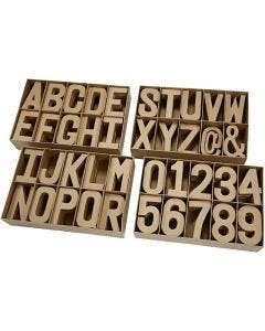 Pahvikirjaimet ja -numerot, Kork. 20,50 cm, paksuus 2,5 cm, 160 kpl/ 1 pkk