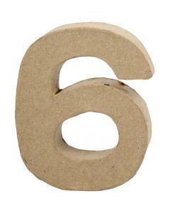 Numero, 6, Kork. 10 cm, Lev: 8,2 cm, paksuus 1,7 cm, 1 kpl