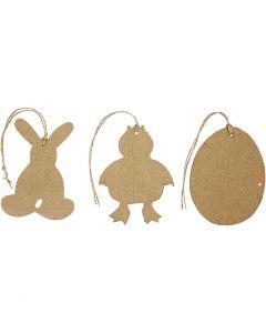 Ripustettavat pääsiäiskoristeet, pupu, tipu ja muna, Kork. 10 cm, 6 kpl/ 1 pkk